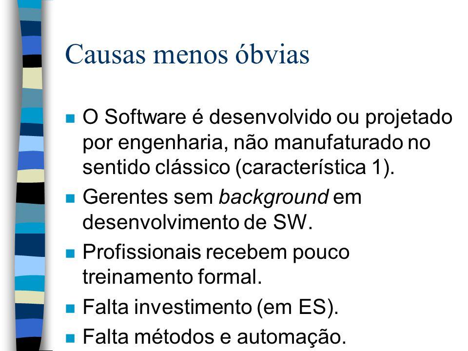 Causas menos óbvias O Software é desenvolvido ou projetado por engenharia, não manufaturado no sentido clássico (característica 1).
