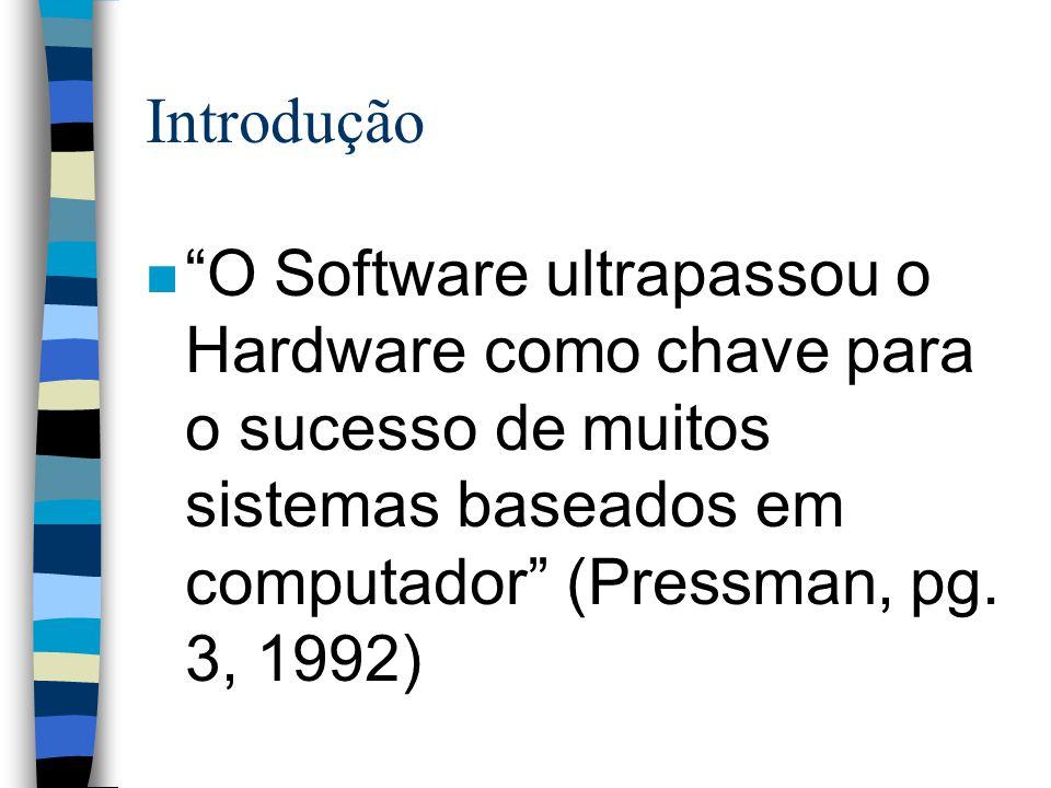 Introdução O Software ultrapassou o Hardware como chave para o sucesso de muitos sistemas baseados em computador (Pressman, pg.