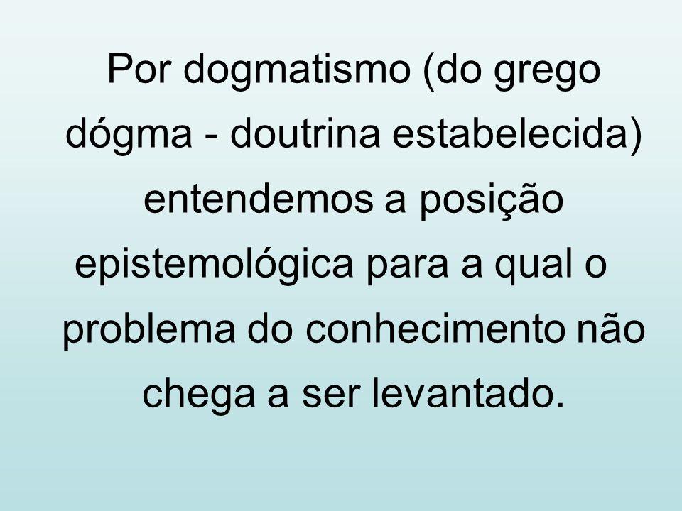 Por dogmatismo (do grego dógma - doutrina estabelecida) entendemos a posição