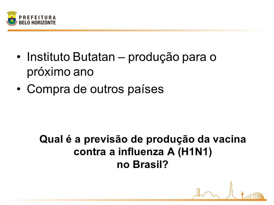 Qual é a previsão de produção da vacina contra a influenza A (H1N1) no Brasil