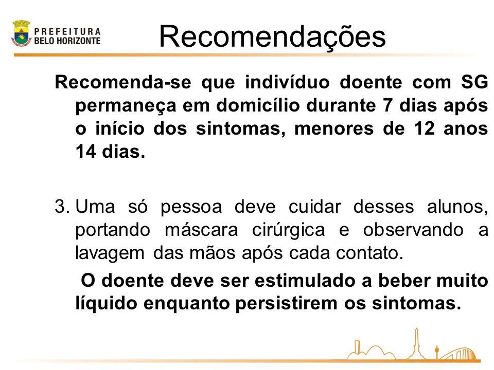 Recomendações Recomenda-se que indivíduo doente com SG permaneça em domicílio durante 7 dias após o início dos sintomas, menores de 12 anos 14 dias.