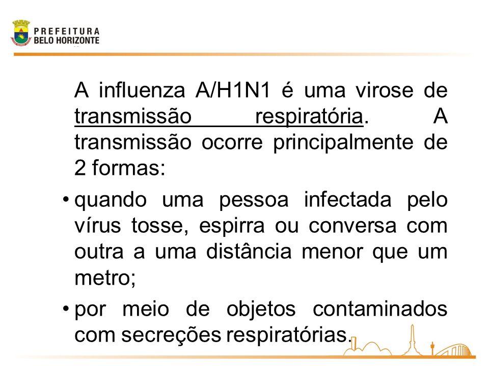 por meio de objetos contaminados com secreções respiratórias.