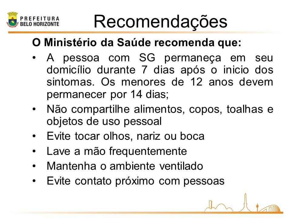 Recomendações O Ministério da Saúde recomenda que: