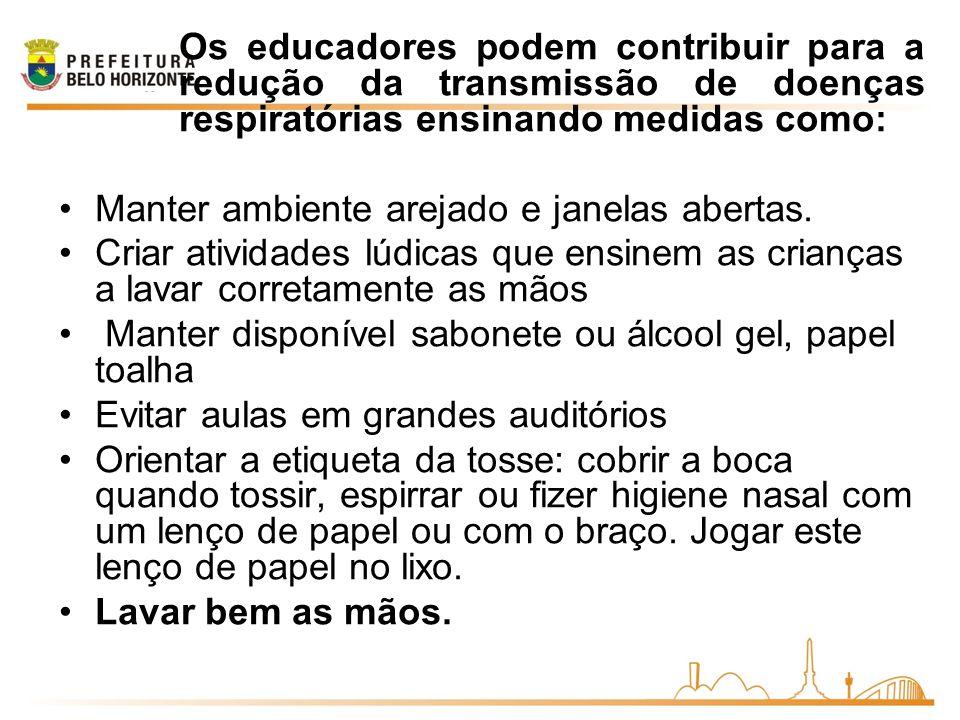 Os educadores podem contribuir para a redução da transmissão de doenças respiratórias ensinando medidas como: