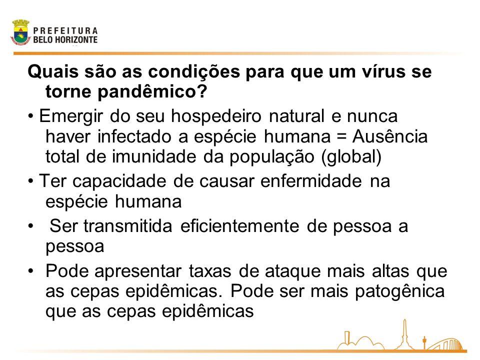 Quais são as condições para que um vírus se torne pandêmico