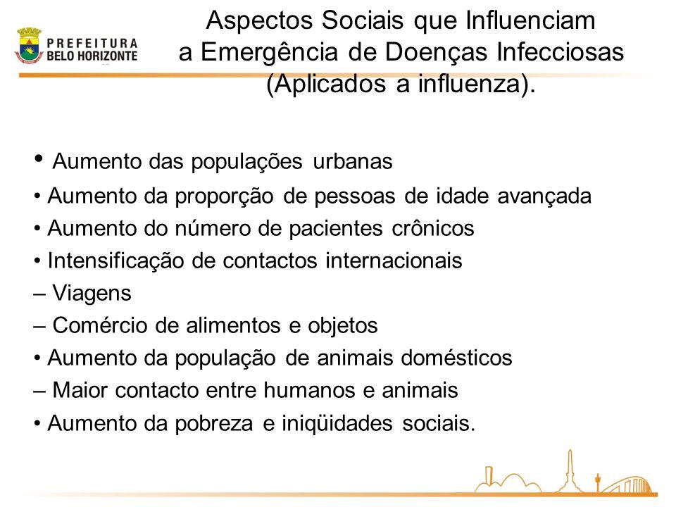 • Aumento das populações urbanas