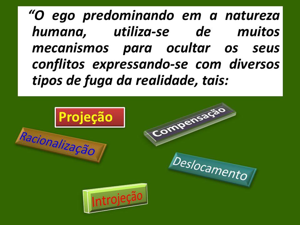 O ego predominando em a natureza humana, utiliza-se de muitos mecanismos para ocultar os seus conflitos expressando-se com diversos tipos de fuga da realidade, tais: