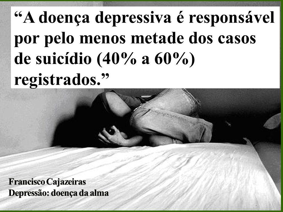 A doença depressiva é responsável por pelo menos metade dos casos de suicídio (40% a 60%) registrados.