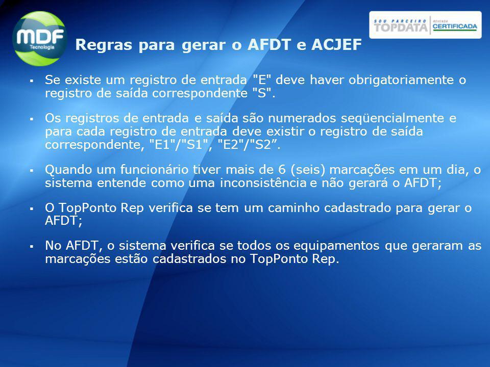 Regras para gerar o AFDT e ACJEF