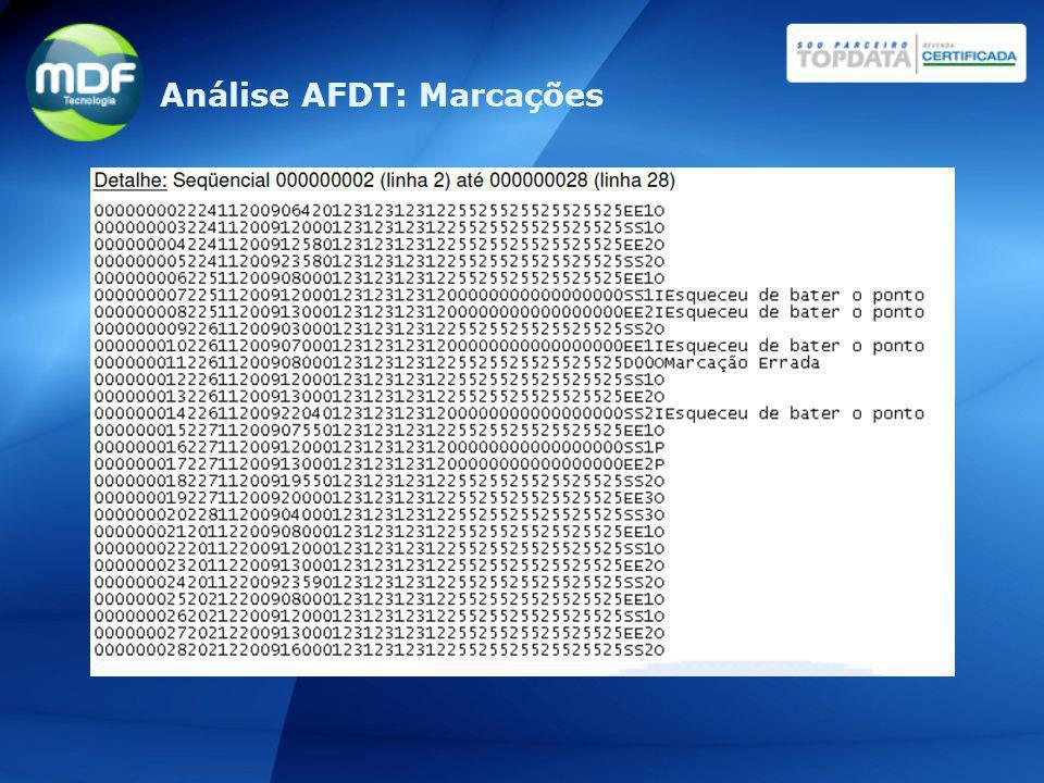 Análise AFDT: Marcações