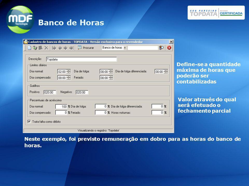 Banco de Horas Define-se a quantidade máxima de horas que poderão ser contabilizadas.