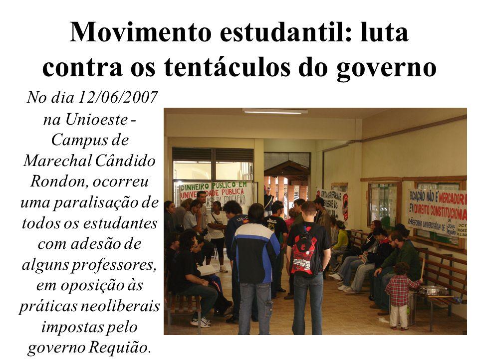 Movimento estudantil: luta contra os tentáculos do governo