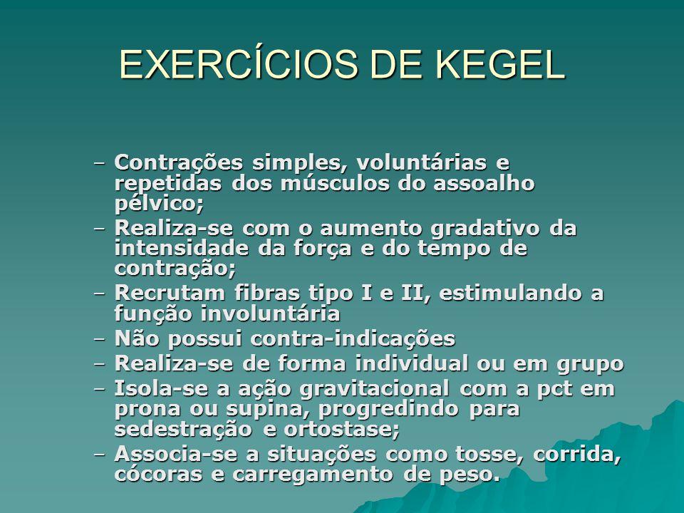 EXERCÍCIOS DE KEGEL Contrações simples, voluntárias e repetidas dos músculos do assoalho pélvico;