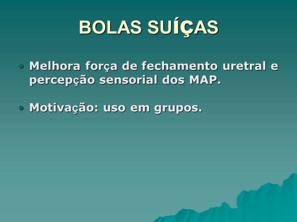 BOLAS SUÍÇAS Melhora força de fechamento uretral e percepção sensorial dos MAP.