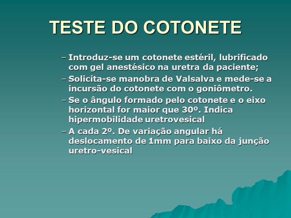 TESTE DO COTONETE Introduz-se um cotonete estéril, lubrificado com gel anestésico na uretra da paciente;