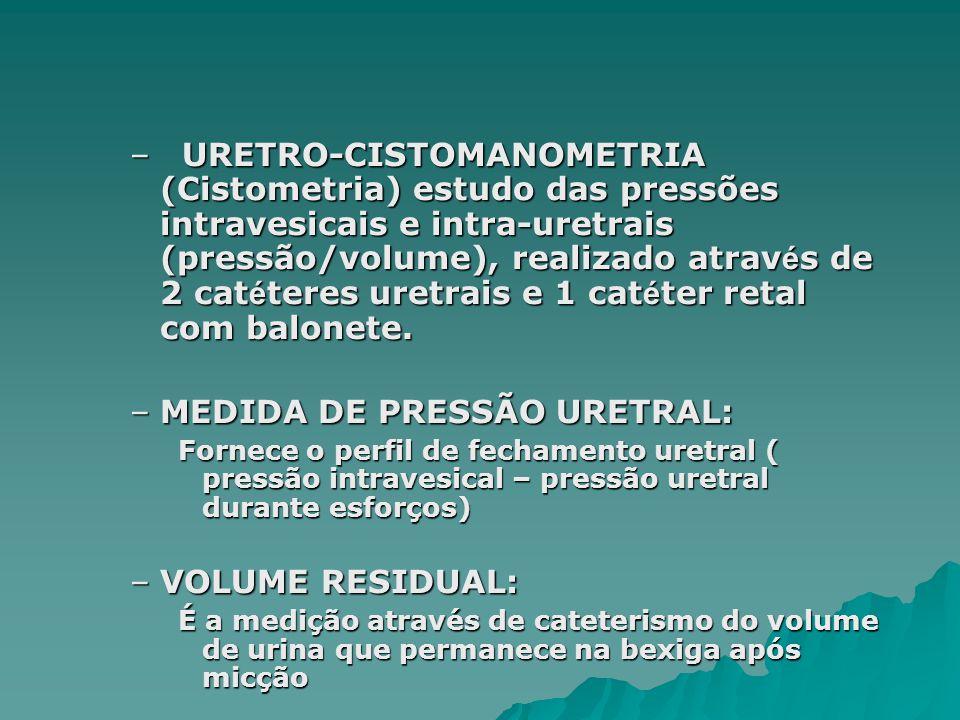 MEDIDA DE PRESSÃO URETRAL: