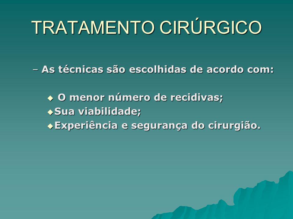 TRATAMENTO CIRÚRGICO As técnicas são escolhidas de acordo com: