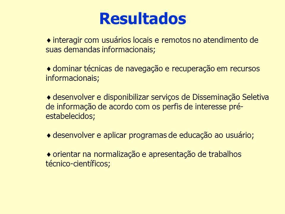 Resultados interagir com usuários locais e remotos no atendimento de suas demandas informacionais;