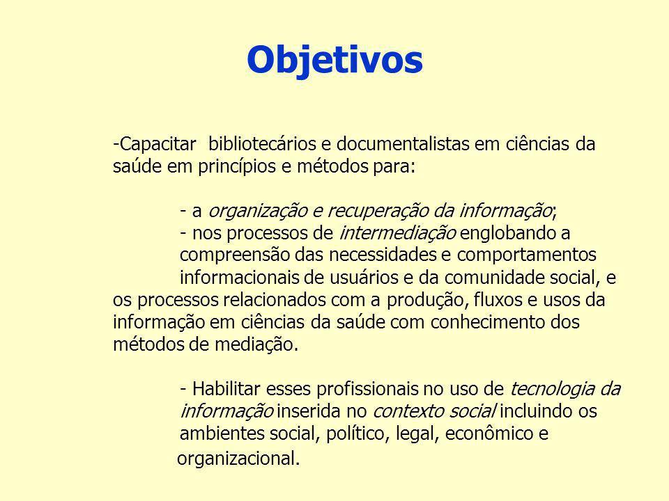 Objetivos Capacitar bibliotecários e documentalistas em ciências da saúde em princípios e métodos para: