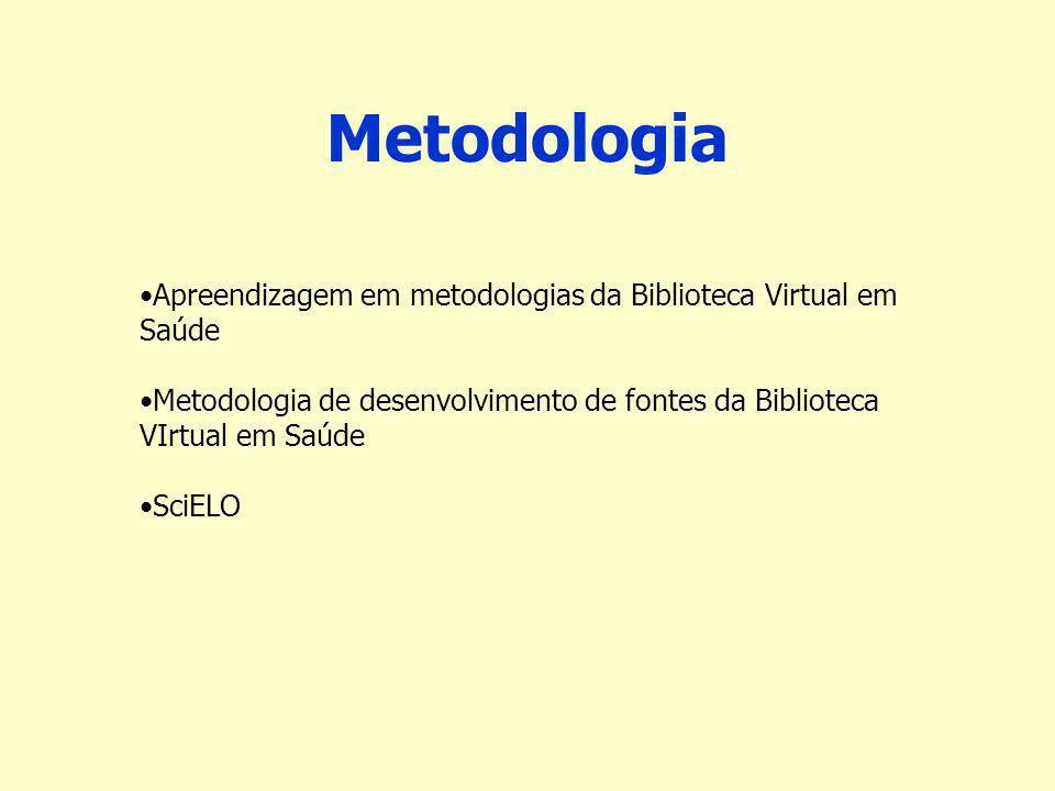 Metodologia Apreendizagem em metodologias da Biblioteca Virtual em Saúde. Metodologia de desenvolvimento de fontes da Biblioteca VIrtual em Saúde.
