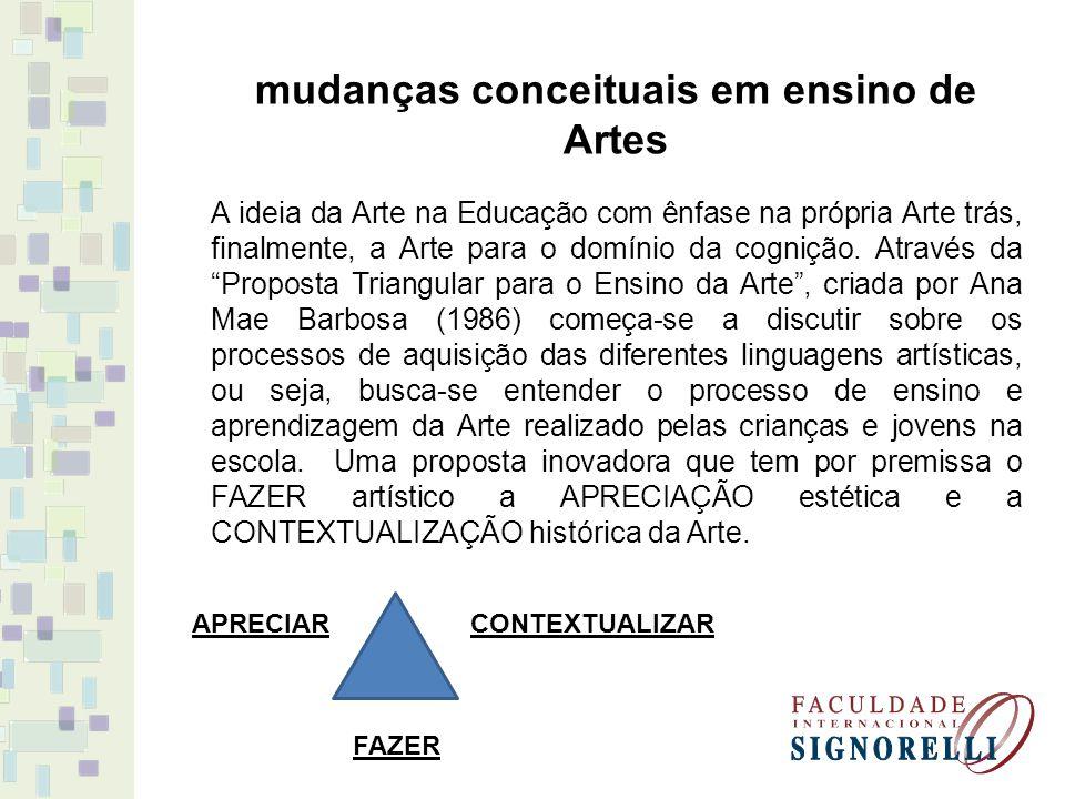 mudanças conceituais em ensino de Artes
