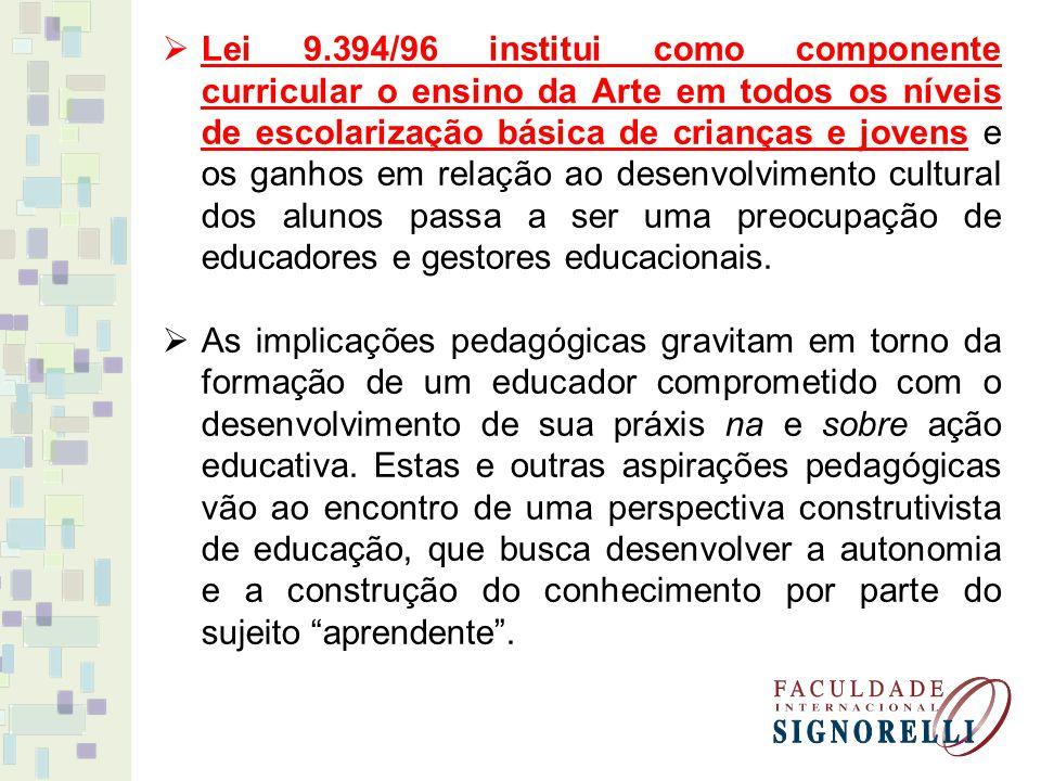 Lei 9.394/96 institui como componente curricular o ensino da Arte em todos os níveis de escolarização básica de crianças e jovens e os ganhos em relação ao desenvolvimento cultural dos alunos passa a ser uma preocupação de educadores e gestores educacionais.