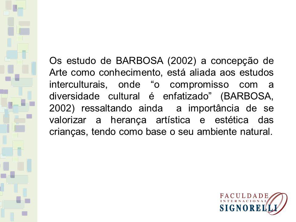 Os estudo de BARBOSA (2002) a concepção de Arte como conhecimento, está aliada aos estudos interculturais, onde o compromisso com a diversidade cultural é enfatizado (BARBOSA, 2002) ressaltando ainda a importância de se valorizar a herança artística e estética das crianças, tendo como base o seu ambiente natural.