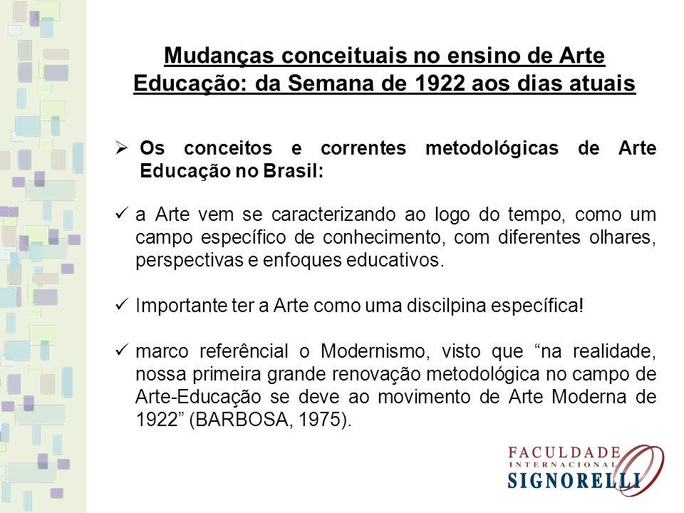 Mudanças conceituais no ensino de Arte Educação: da Semana de 1922 aos dias atuais
