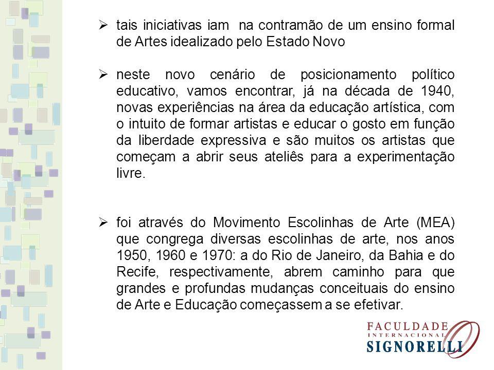 tais iniciativas iam na contramão de um ensino formal de Artes idealizado pelo Estado Novo