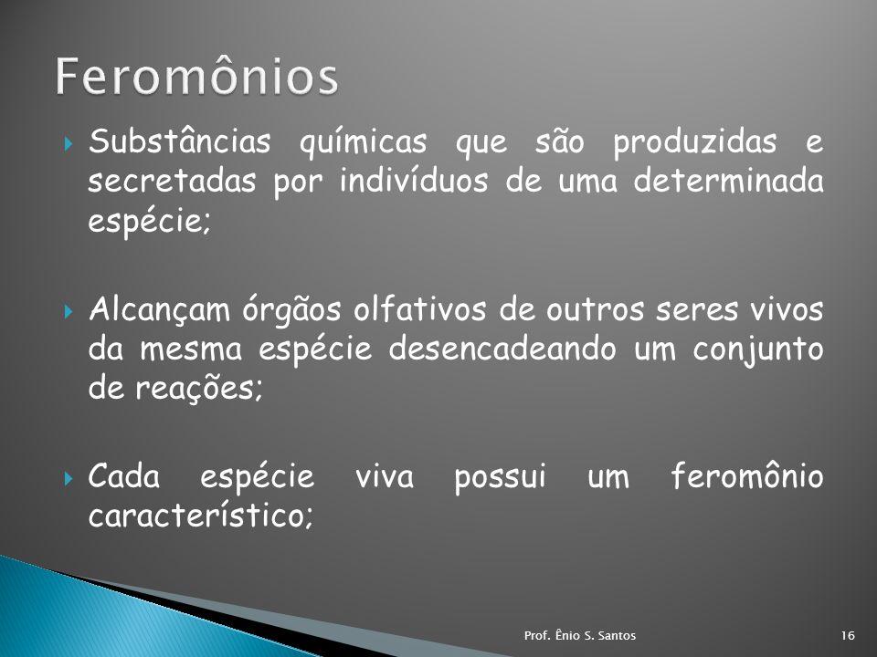 Feromônios Substâncias químicas que são produzidas e secretadas por indivíduos de uma determinada espécie;