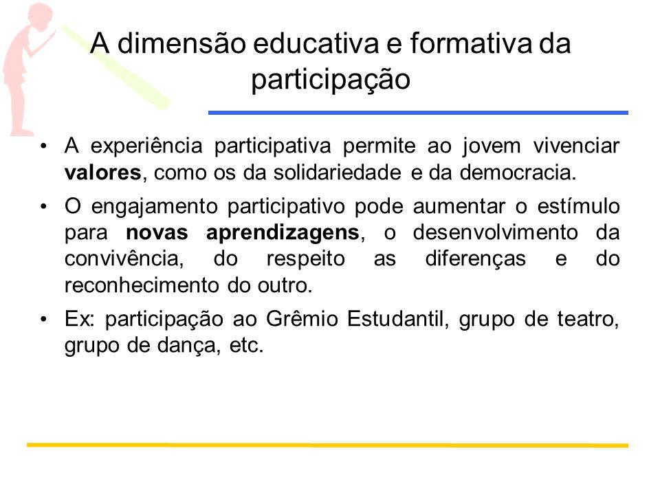 A dimensão educativa e formativa da participação