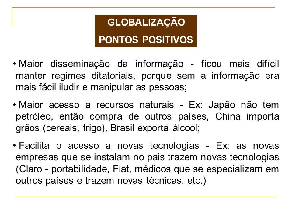 GLOBALIZAÇÃO PONTOS POSITIVOS.