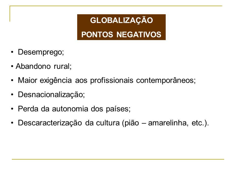 GLOBALIZAÇÃO PONTOS NEGATIVOS. Desemprego; Abandono rural; Maior exigência aos profissionais contemporâneos;