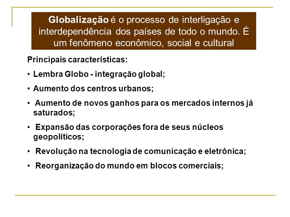 Globalização é o processo de interligação e interdependência dos países de todo o mundo. É um fenômeno econômico, social e cultural