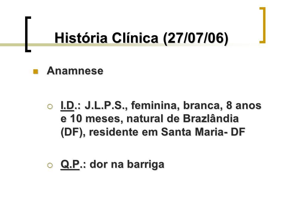 História Clínica (27/07/06) Anamnese