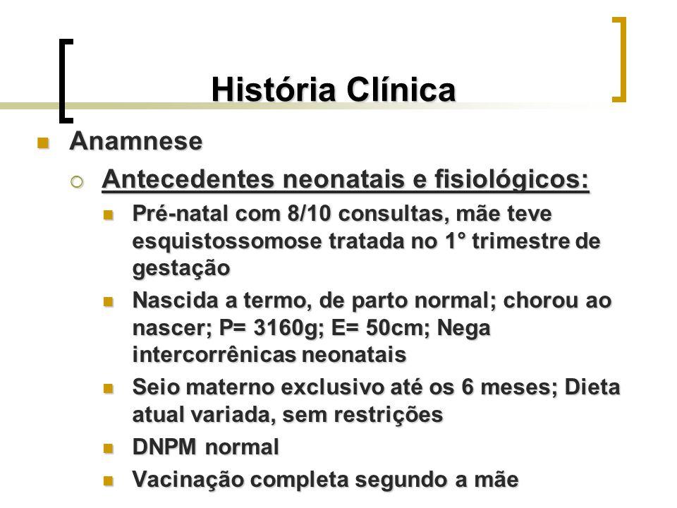 História Clínica Anamnese Antecedentes neonatais e fisiológicos:
