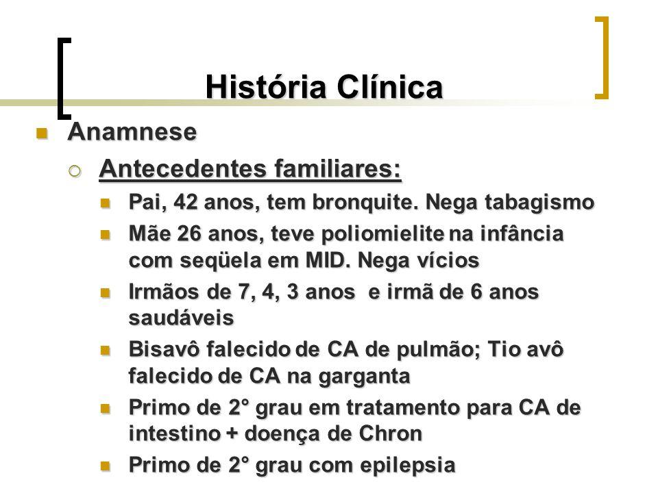 História Clínica Anamnese Antecedentes familiares:
