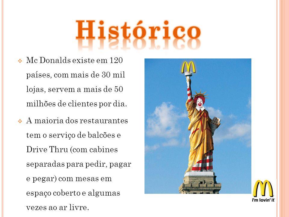 Histórico Mc Donalds existe em 120 países, com mais de 30 mil lojas, servem a mais de 50 milhões de clientes por dia.
