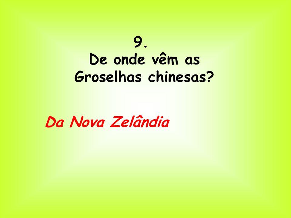 9. De onde vêm as Groselhas chinesas Da Nova Zelândia