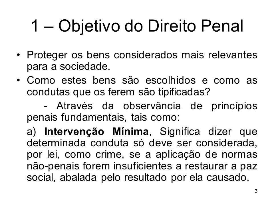 1 – Objetivo do Direito Penal