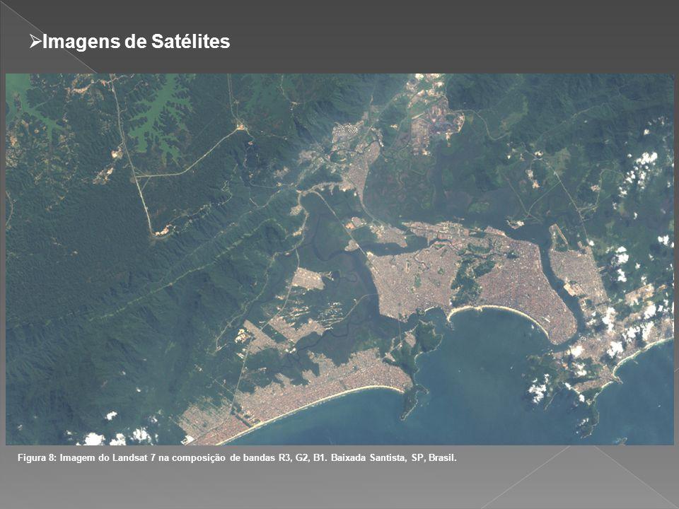 Imagens de Satélites Figura 8: Imagem do Landsat 7 na composição de bandas R3, G2, B1.