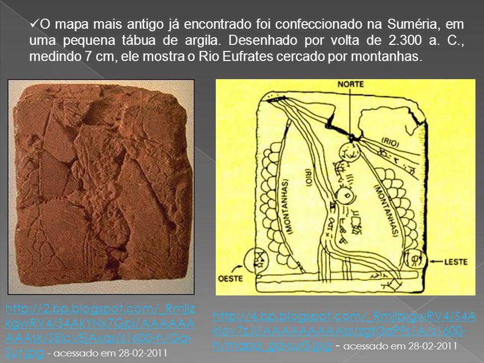 O mapa mais antigo já encontrado foi confeccionado na Suméria, em uma pequena tábua de argila. Desenhado por volta de 2.300 a. C., medindo 7 cm, ele mostra o Rio Eufrates cercado por montanhas.