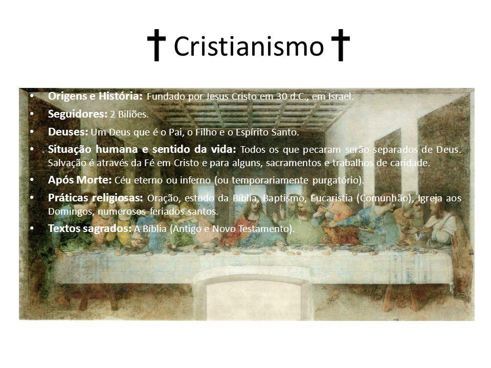 Cristianismo Origens e História: Fundado por Jesus Cristo em 30 d.C., em Israel. Seguidores: 2 Biliões.