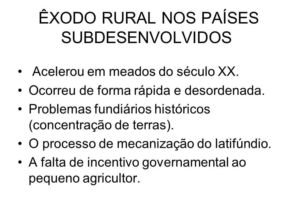 ÊXODO RURAL NOS PAÍSES SUBDESENVOLVIDOS
