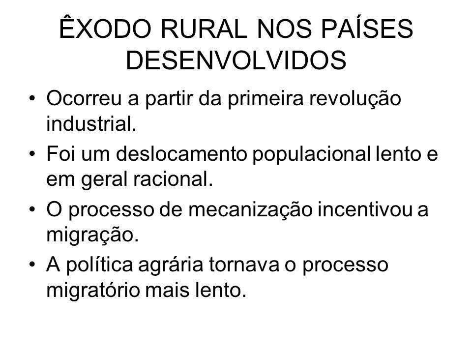 ÊXODO RURAL NOS PAÍSES DESENVOLVIDOS