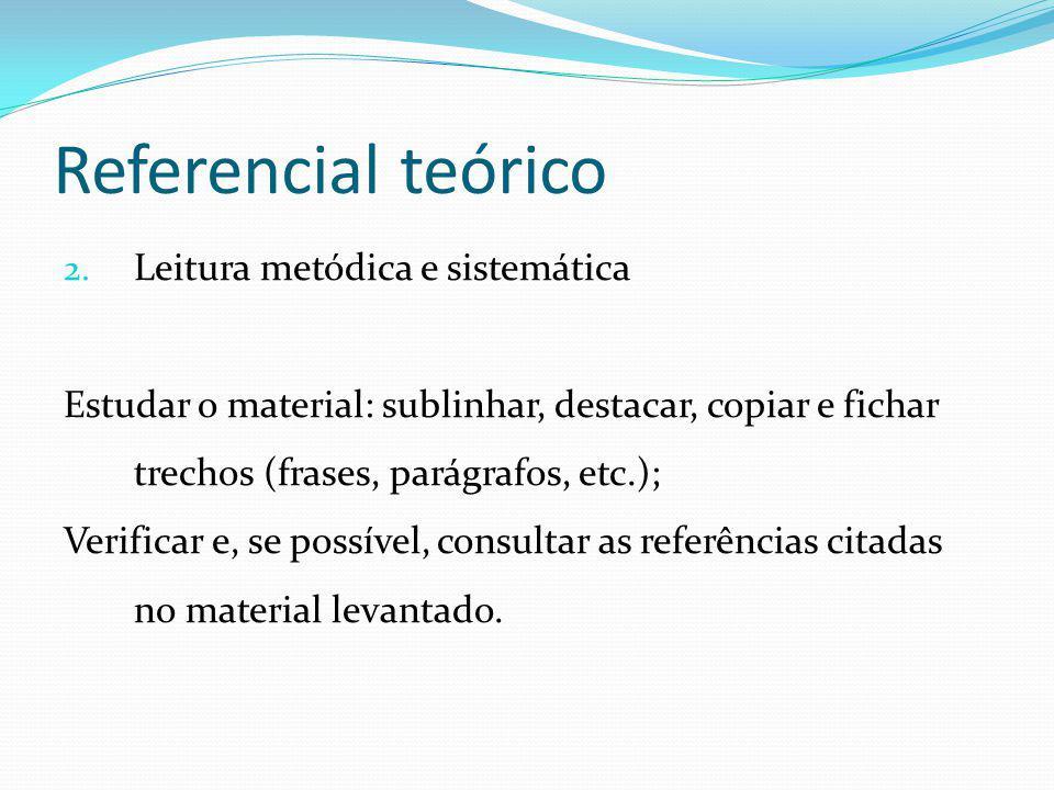 Referencial teórico Leitura metódica e sistemática
