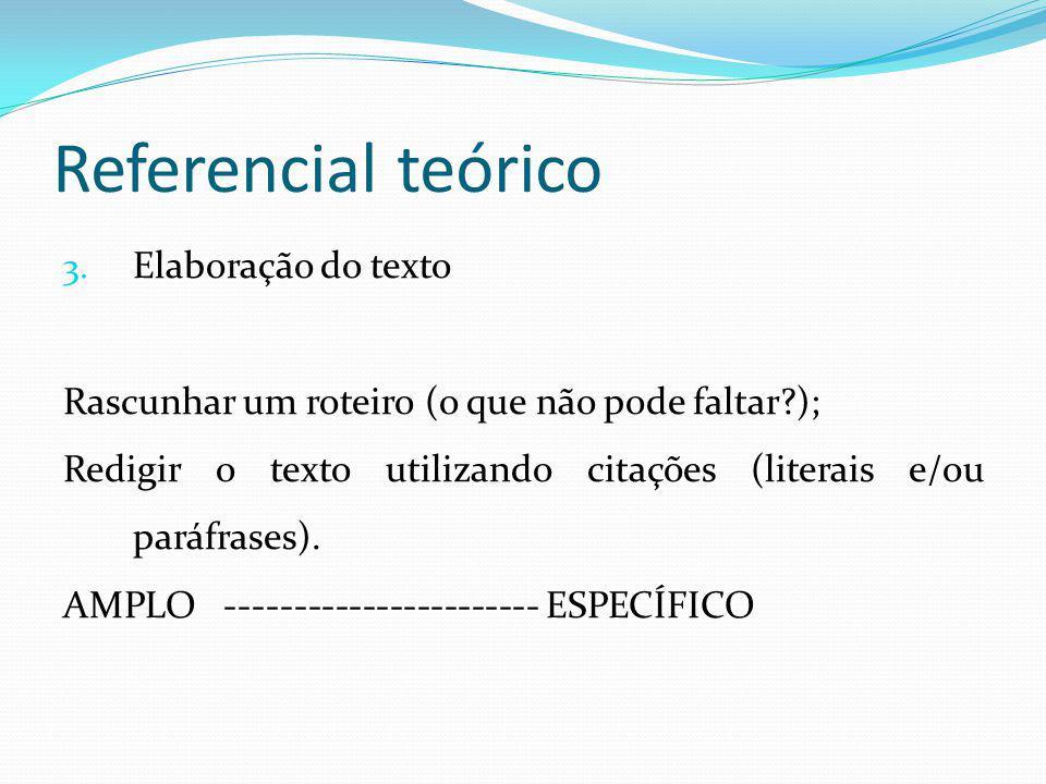 Referencial teórico Elaboração do texto