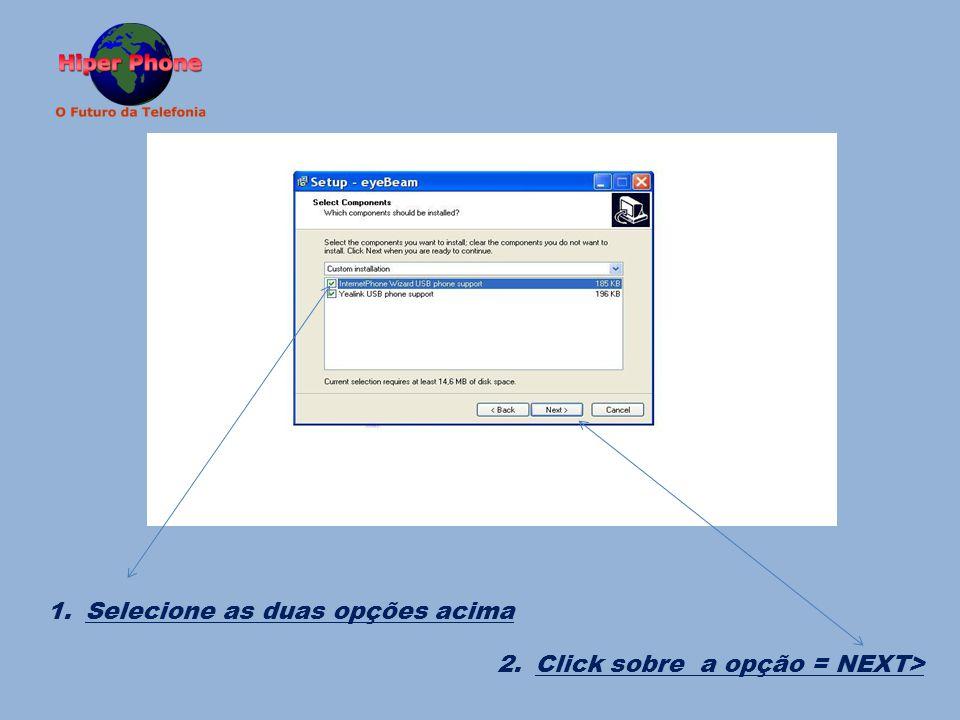 1. Selecione as duas opções acima 2. Click sobre a opção = NEXT>
