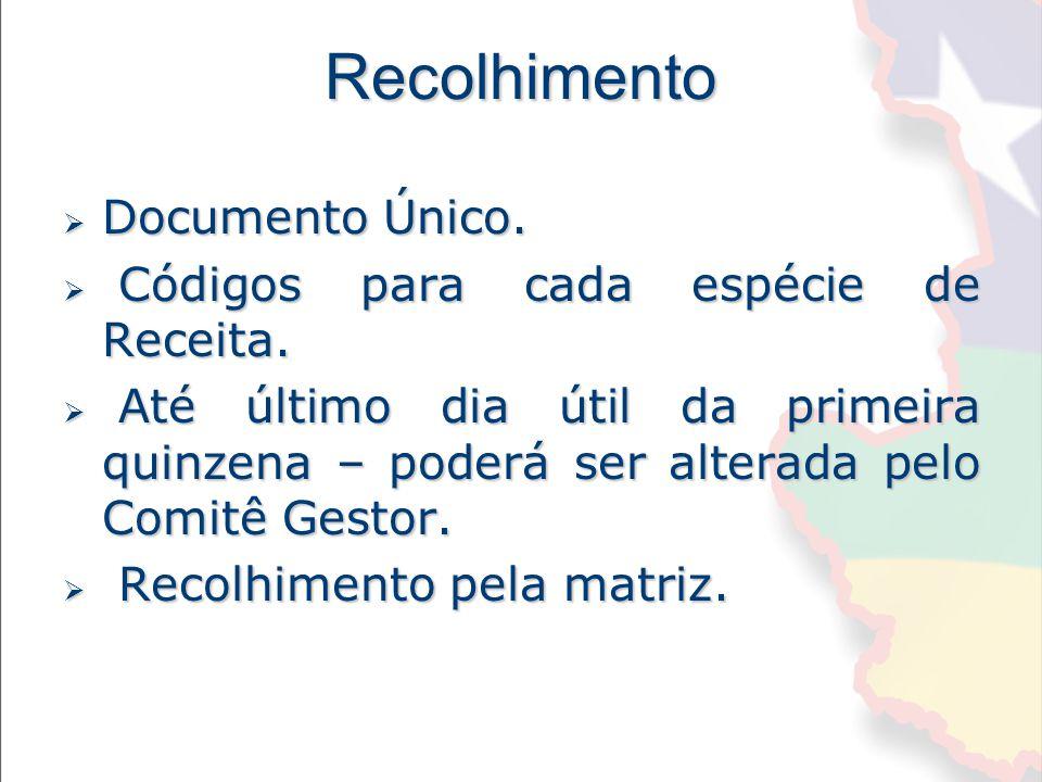 Recolhimento Documento Único. Códigos para cada espécie de Receita.