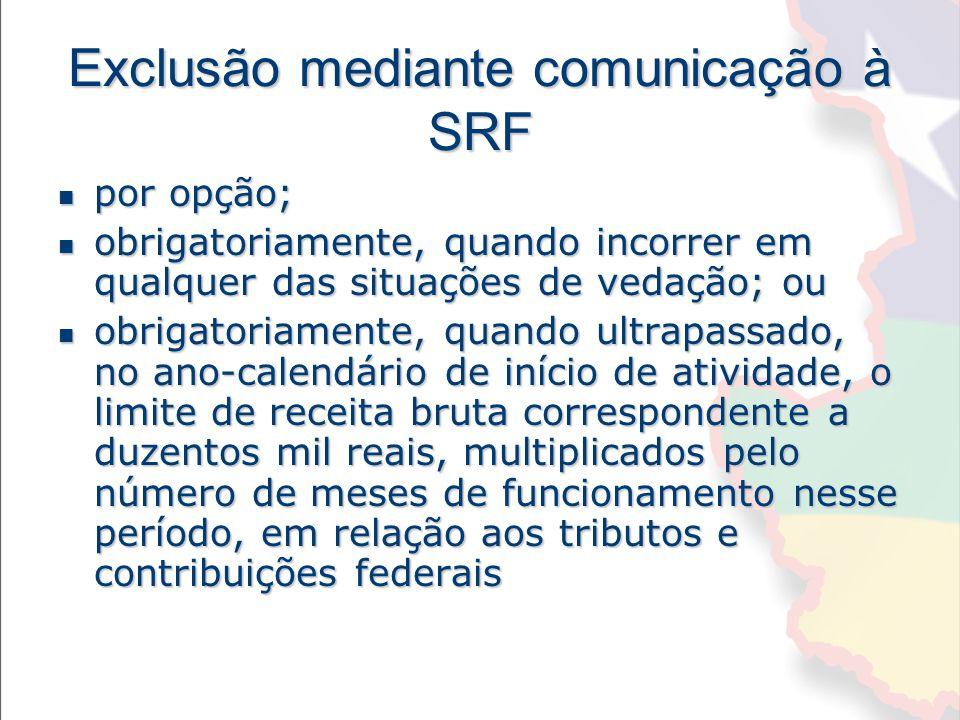 Exclusão mediante comunicação à SRF